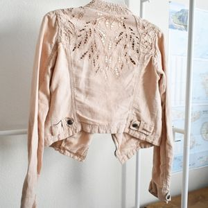 Free People Cotton Blush Moto Jacket with Cut Out